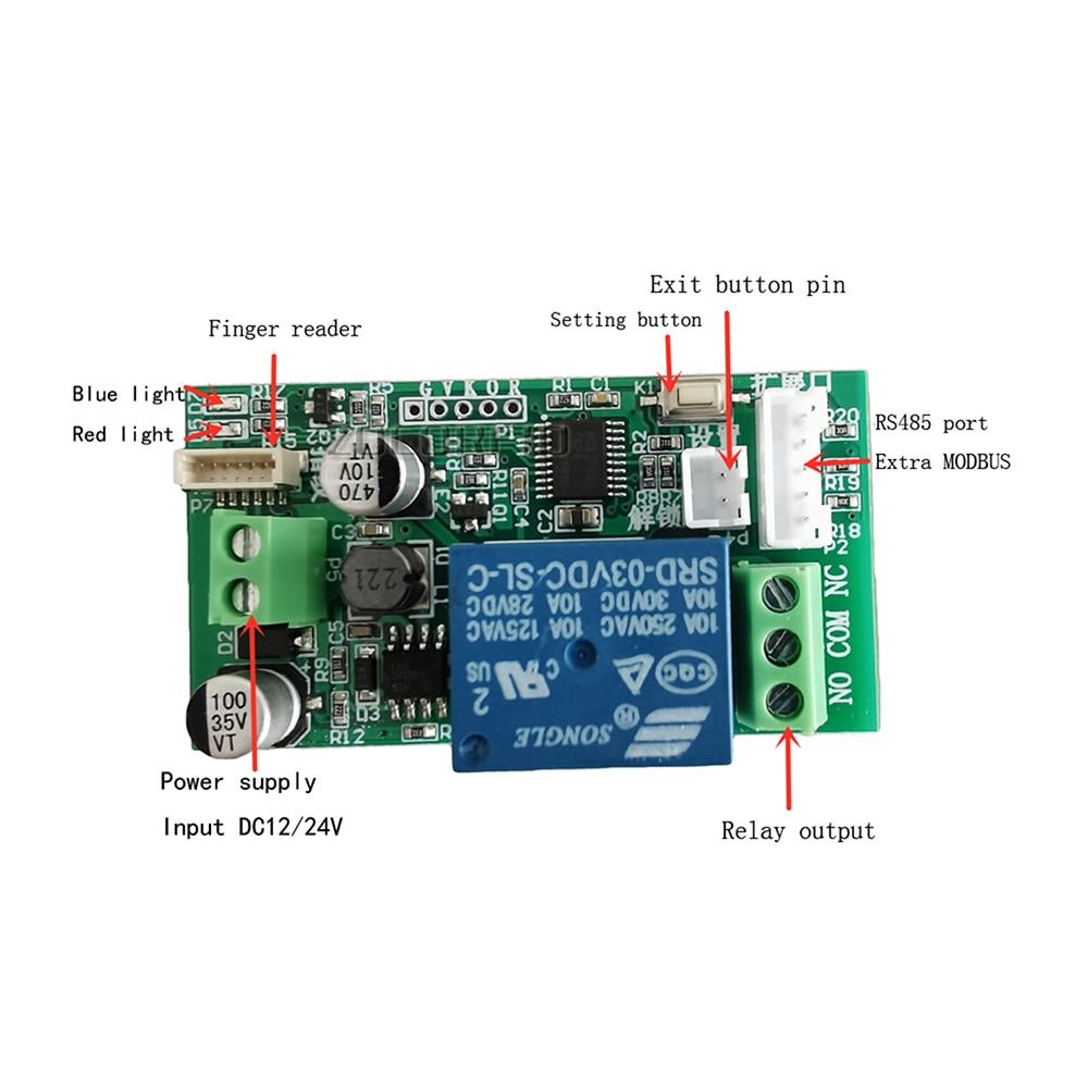 Taidacent Fingerprint Recognition Module Waterproof Fingerprint Identification Control Module Car Door Lock Relay 485 MODBUS RTU enlarge