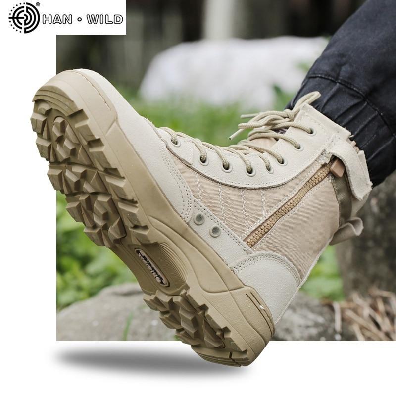 حذاء عسكري من الجلد والشبك للرجال ، مسامي ، تكتيكي ، حذاء عمل صحراوي غير رسمي ، SWAT