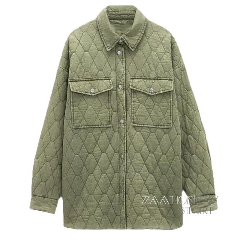 ZAAHONEW جاكيت دنيم باركاس رقيق أنيق للخريف والشتاء للنساء 2021 معطف أخضر عتيق جيوب غير رسمية ملابس خارجية فضفاضة دافئة للنساء