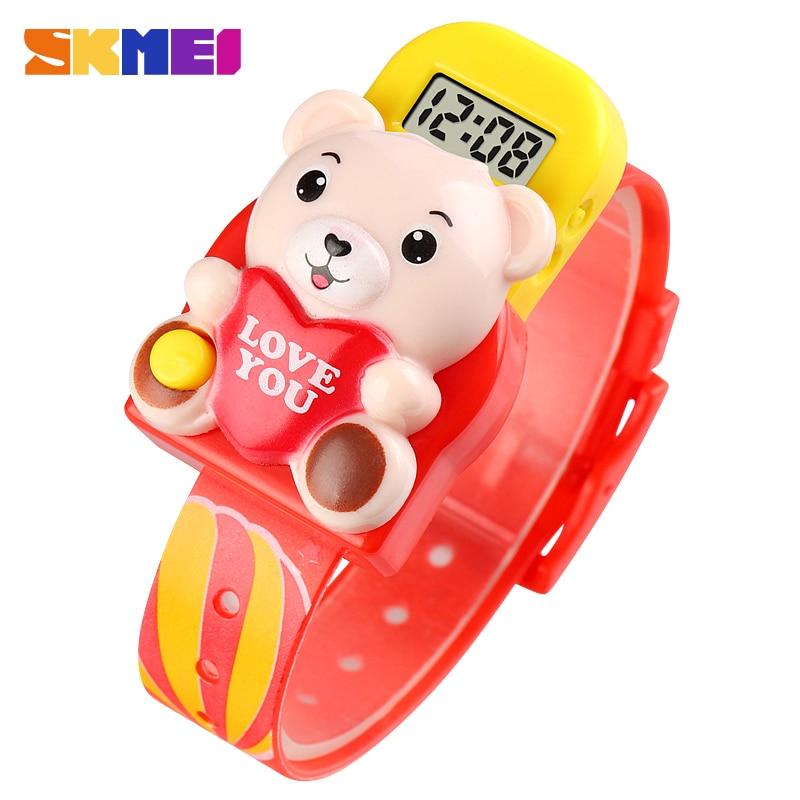 SKMEI 1748 Children Digital Watches Cute Bear Shape Cartoon Sport Wristwatch Bracelet Girls Toys Gift Clock Montre Drop Shipping