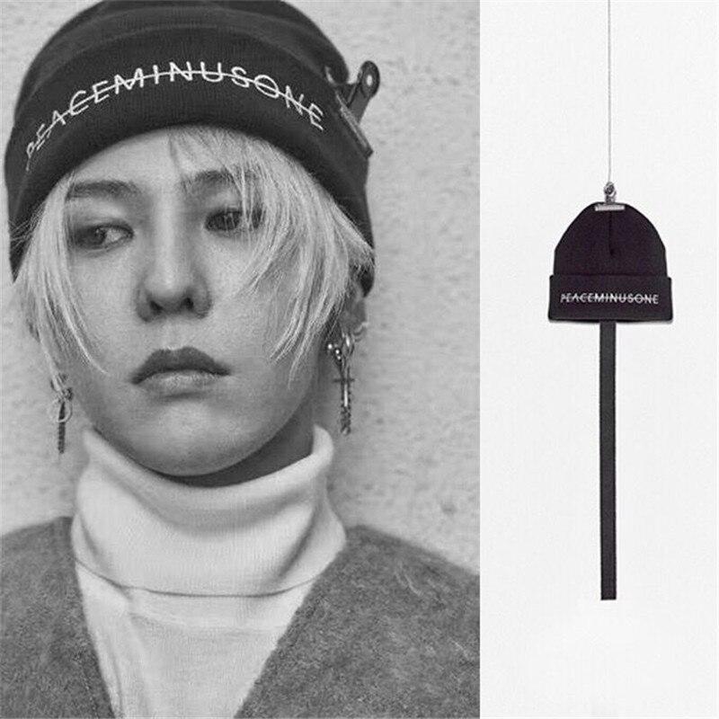 Kpop bigbang gd lã chapéu de qualidade superior g dragão mesmo preto malha bordado elástico outono inverno quente chapéu boné