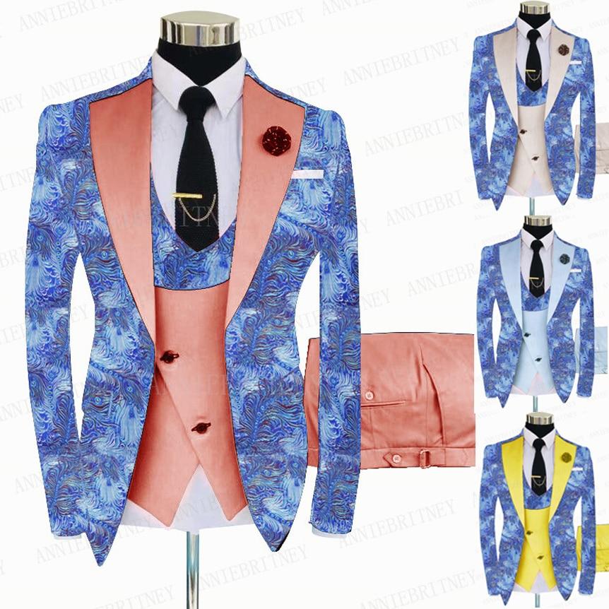 بدلة رجالية مطبوعة بالزهور ، بدلة ضيقة مخصصة ، بدلة زفاف رسمية للعريس ، جاكيت لامع ، بدلة عشاء ، بليزر وسروال ، 3 قطع ، أزرق ، 2021