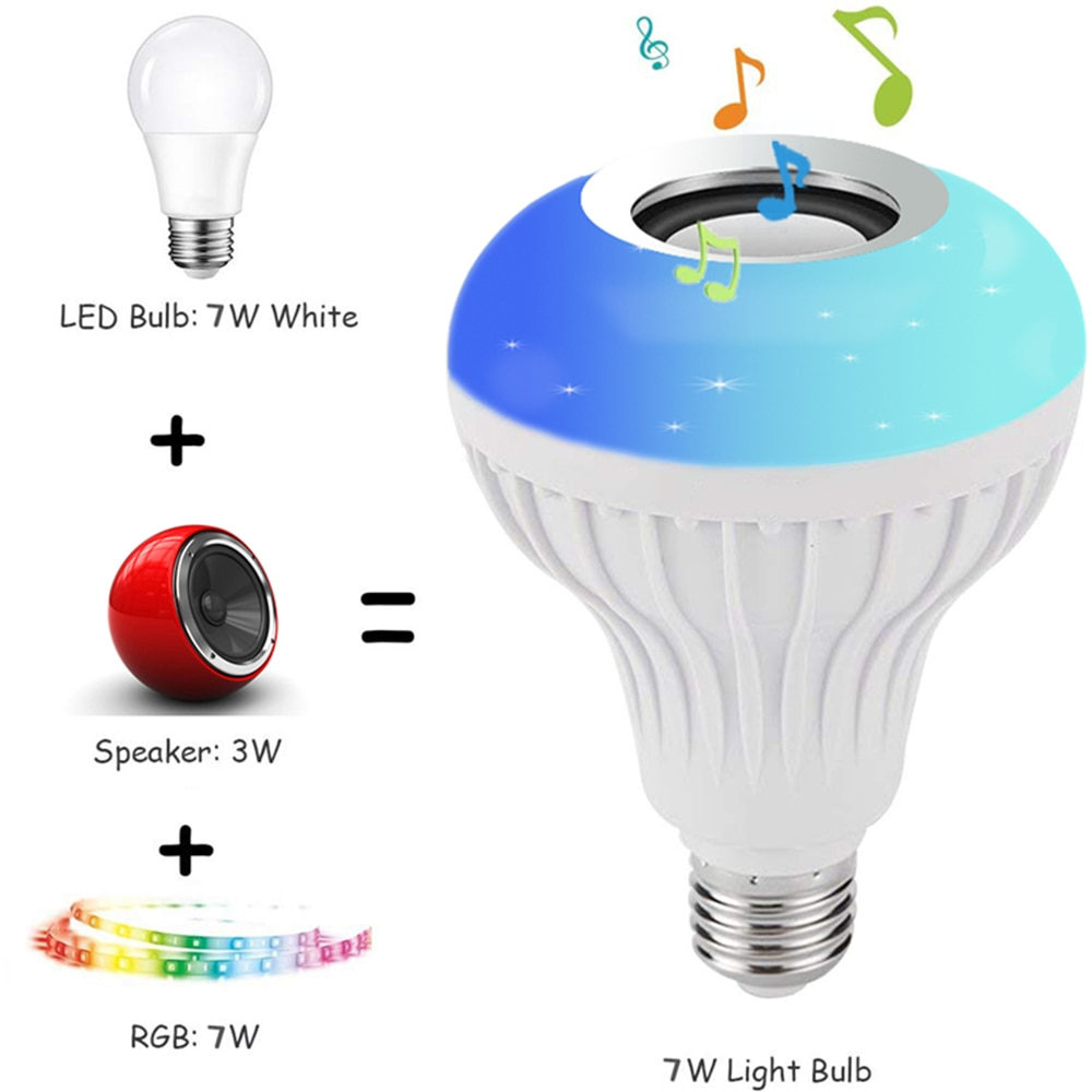 Smart E27 12W Ampoule LED Bulb RGB Light Wireless Bluetooth Audio Speaker Music Playing Dimmable Lam