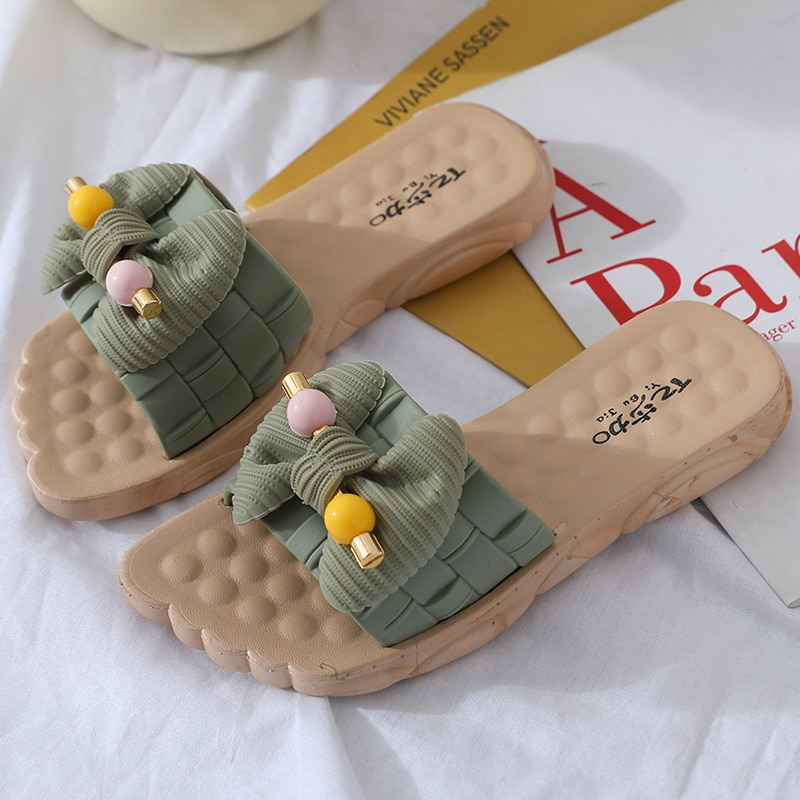 ruiyee ms real hair slipper luxurious fox hair workplace slippers comfortable hairy slippers sandals 2018 summer style Versatile Sandals Cute 2021 Summer Vacation Beach Slippers For Women Bow Antiskid Girls Slippers Korean Style Outside Slipper