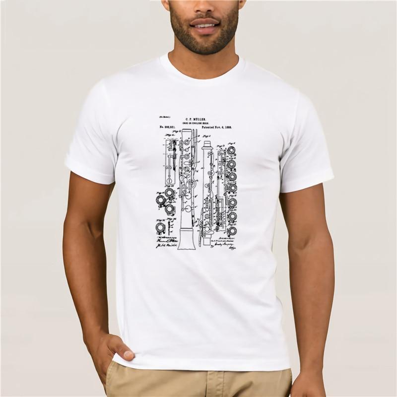 Moda masculina manga curta 100% algodão t camisa da marca oboé instrumento patente banda camiseta moda masculina