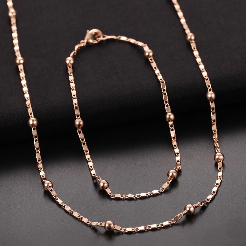 1 Set 2mm Chain 585 Rose Gold Color Bracelet Necklace Women Bead Ball Set Jewelry