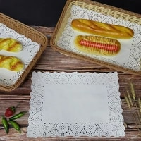 140 pcspack rectangular flower bottom lace papers kitchen oil absorbing disposable snack bread cake pad