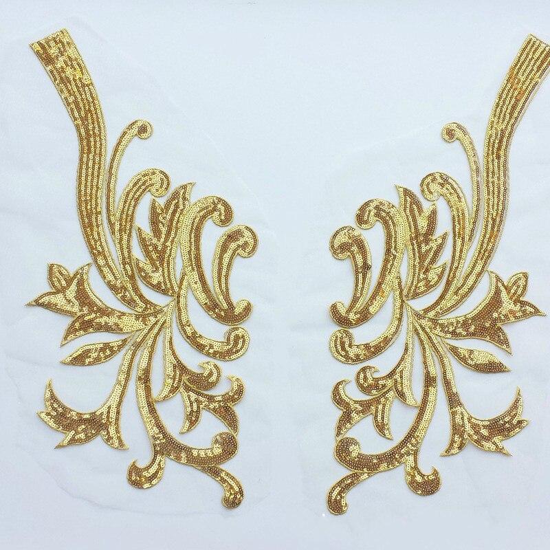 Busto delantero plata oro encaje apliques flor barroca patrón decorativo lentejuelas gasa bordado tela Decoración Accesorios