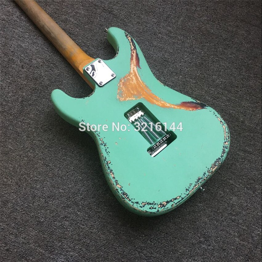 In Stock , green relic  guitar restoring ancient ways, real photos, free shipping, Stock inventory, Mint green, guard enlarge