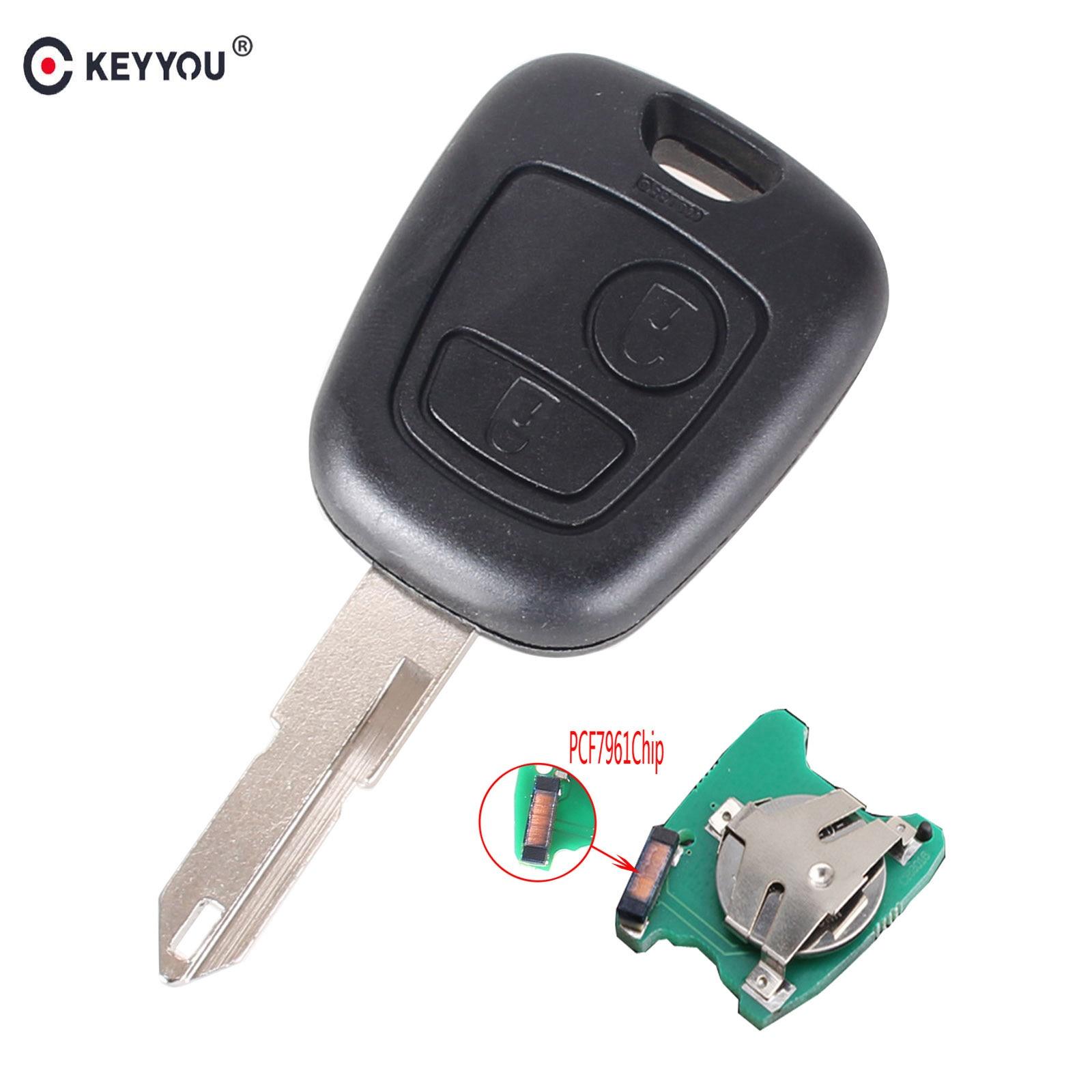 KEYYOU 2 Tasten FRAGEN Remote Key Fob Controller Für PEUGEOT 206 307 Partner Citroen C1 C3 433MHZ Mit PCF7961 transponder Chip