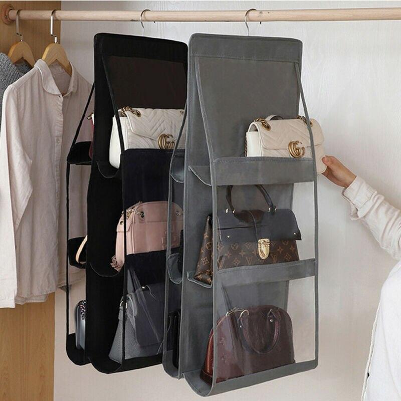 Sac suspendu pliable 3 couches   Sac étagère pliant, sac à main, organisateur de sac à 6 poches, sac étagère support de rangement garde-robe et placards