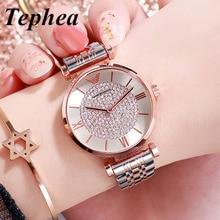 Damskie zegarki z diamentami 2019 bransoleta z różowego złota Relogio Feminino luksusowe damskie zegarki kwarcowe dla kobiet zegarek ze stali nierdzewnej