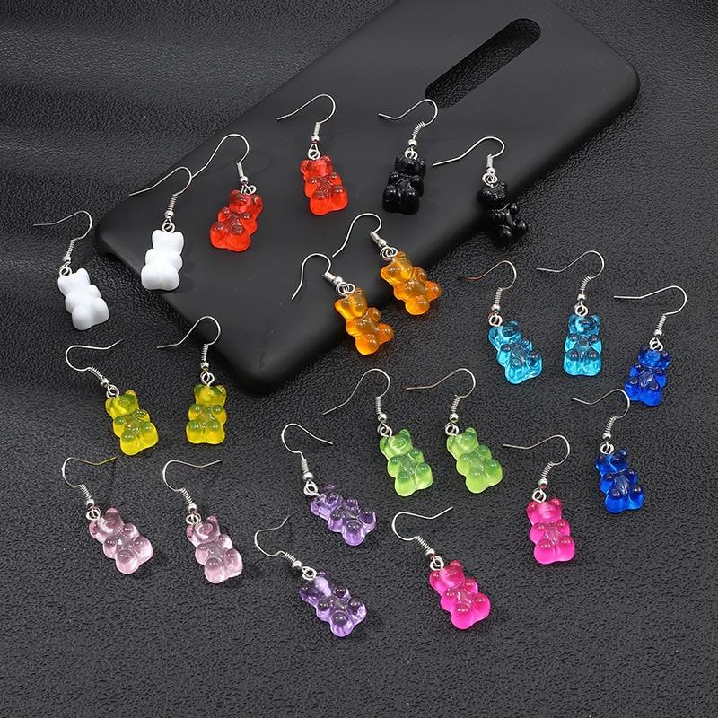 originality statement minimalist dangle earring jelly Polychromatic Bear drop earrings fashion minimalist stud earings for women