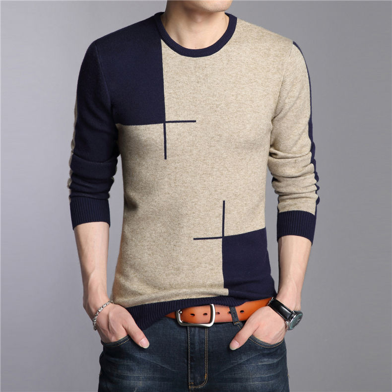Autumn and winter thick warm knit sweater playboy young and middle-aged men's long-sleeved round neck wool bottoming shirt