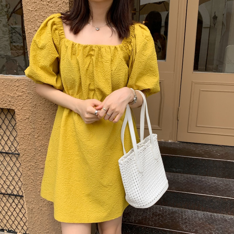 CMAZ 2021 Summer Casual Square Collar Puff Sleeve Mini Sweet Dress Woman Solid Color High Waist Loose Preppy Style Dresses 5942#