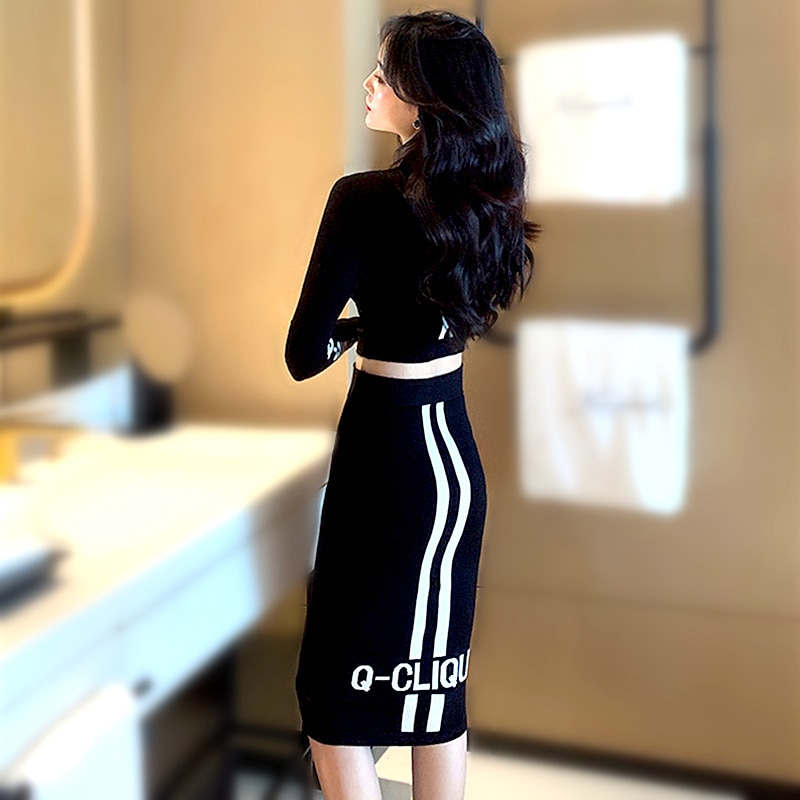 Korea Fashion Knitted Suits Two Piece Set Women Full Sleeve Short Knitwear Top Women And Package Hip Skirt Women's Suit SL282