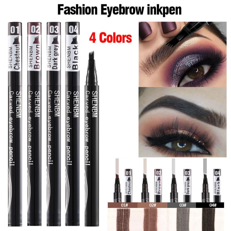 4 Colors Waterproof Eyebrow Pencil 4 Four-claw Eye Brow Tint Makeup Brown Black Liquid Eyebrow Pen F