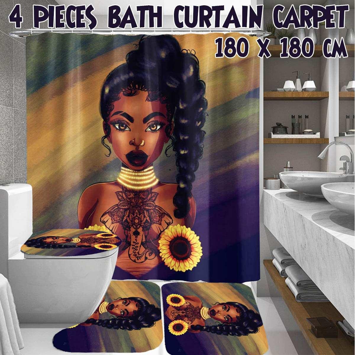 Nuevo conjunto de cortina de ducha para mujer afroamericana resistente al agua con alfombras de baño antideslizantes Afro Africa Girl Queen
