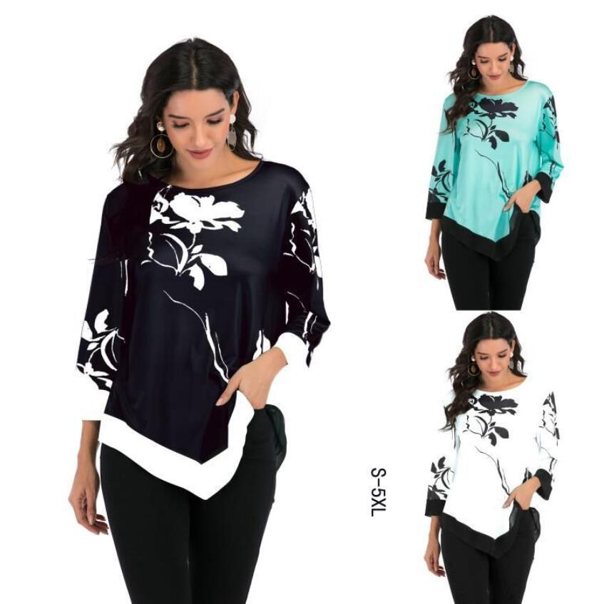 Summer 2020 Casual Women T-shirts O-neck Floral Printed Irregular Loose Shirt Fashion Ladies Office Shirt Plus Size Tops S-5XL