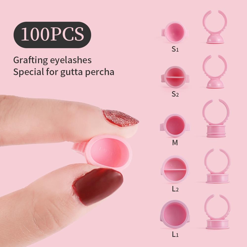Soporte de pegamento desechable 100 uds, soporte de anillo para pestañas, extensión de tatuaje, soporte de pigmento, contenedor de soporte de paleta de pegamento adhesivo