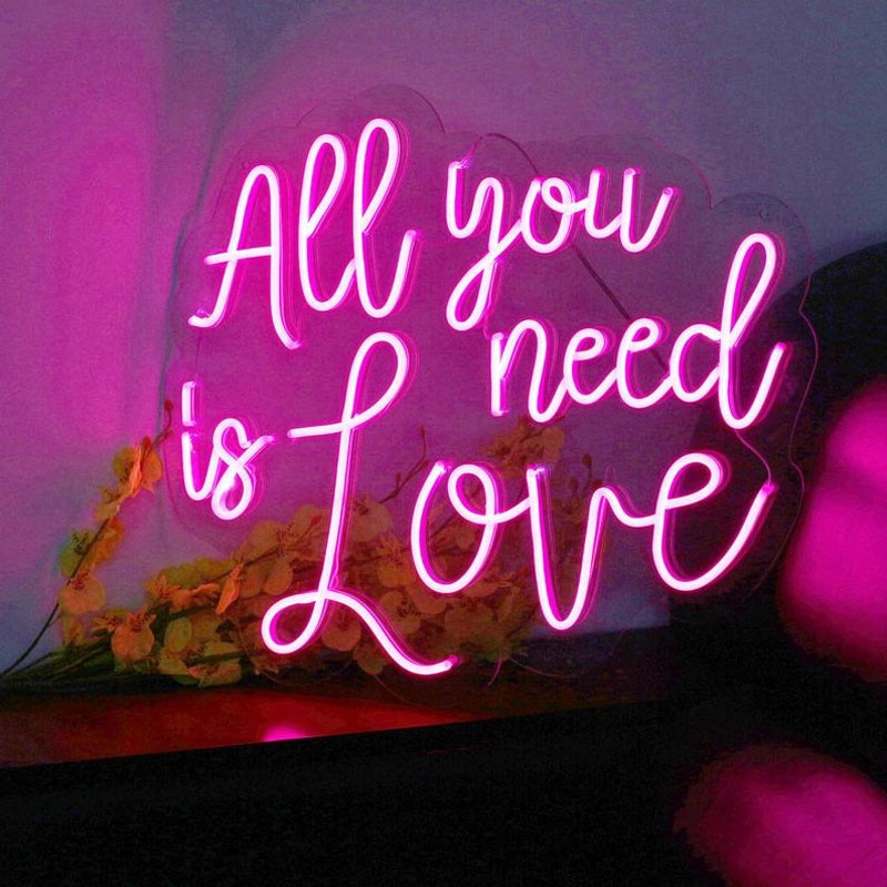 OHANEONK All You Need is Love Custom Neon Sign Light Wedding Bedroom Daughter Girl Room Wall Hanging Personalized Gift Christmas enlarge