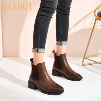 Chelsea Boots Women Genuine Leather 2021 Spring New British Style Fashion Short Boots Women Retro Ladies Martin Boots