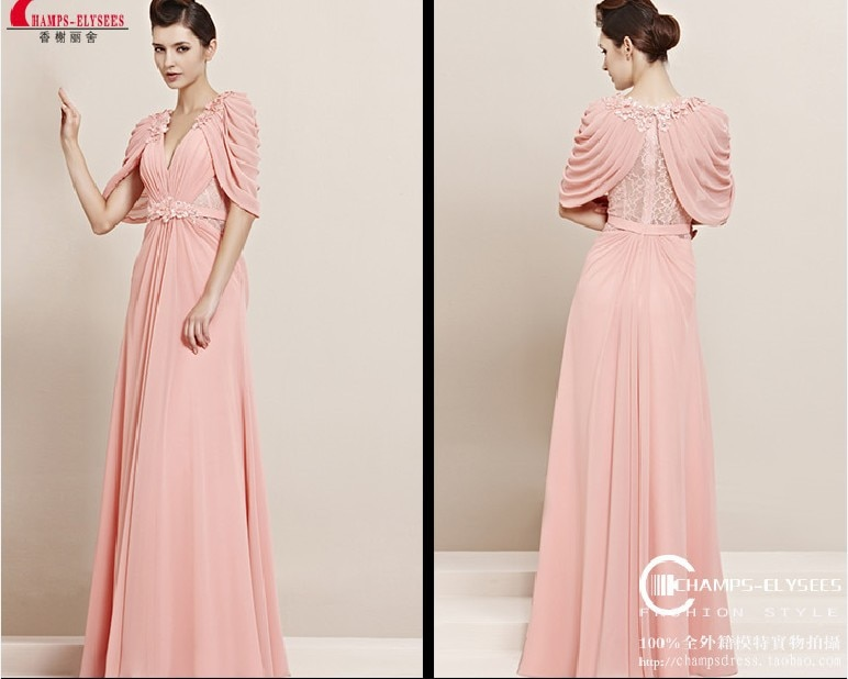 free shipping new fashion 2018 vestido de festa casual cap sleeve formal gown lace pink long party prom bridesmaid dresses