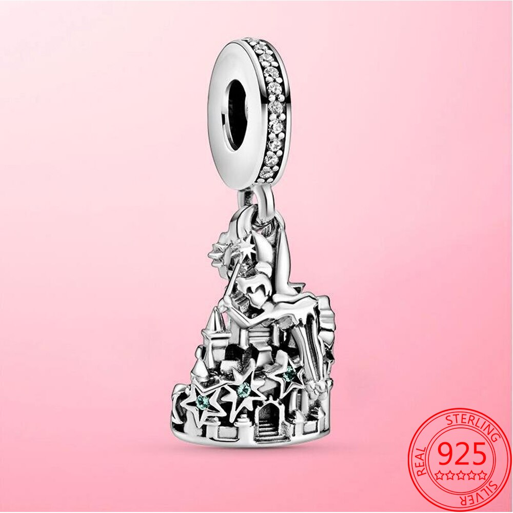 Colgante de Castillo de ensueño mágico de plata de ley S925... abalorio...