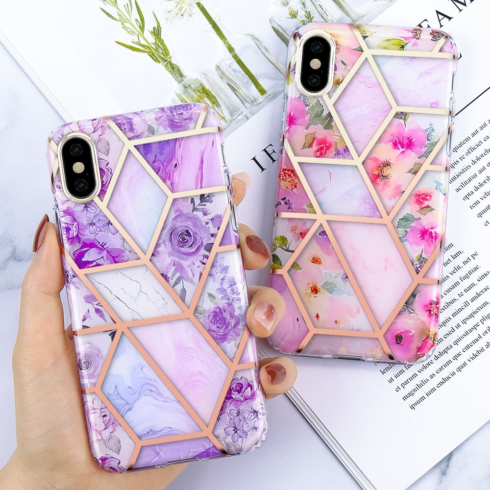 Placage de luxe marbre Rose fleur étui pour iPhone SE 2020 11 Pro Max X Xr Xs 360 mince couverture pour iPhone 7 8 6S 6 plus pare-chocs