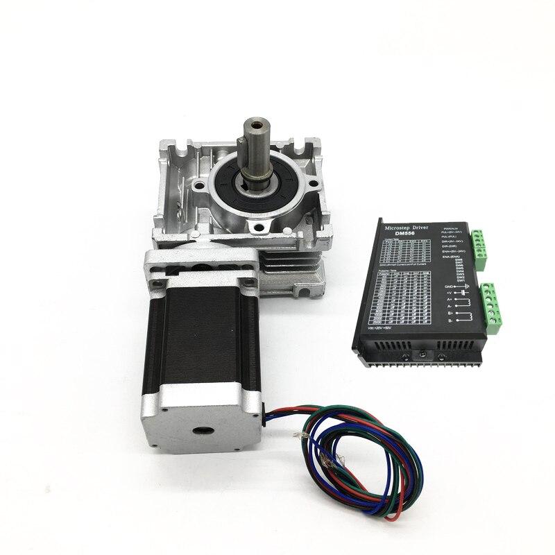 علبة التروس الدودية RV040 ، نسبة مخفض السرعة 5:1 ~ 80:1 و Nema34 3 نانومتر محرك متدرج ومحرك DC 20-50V 2ph 4 أسلاك لمخرطة جهاز التوجيه CNC