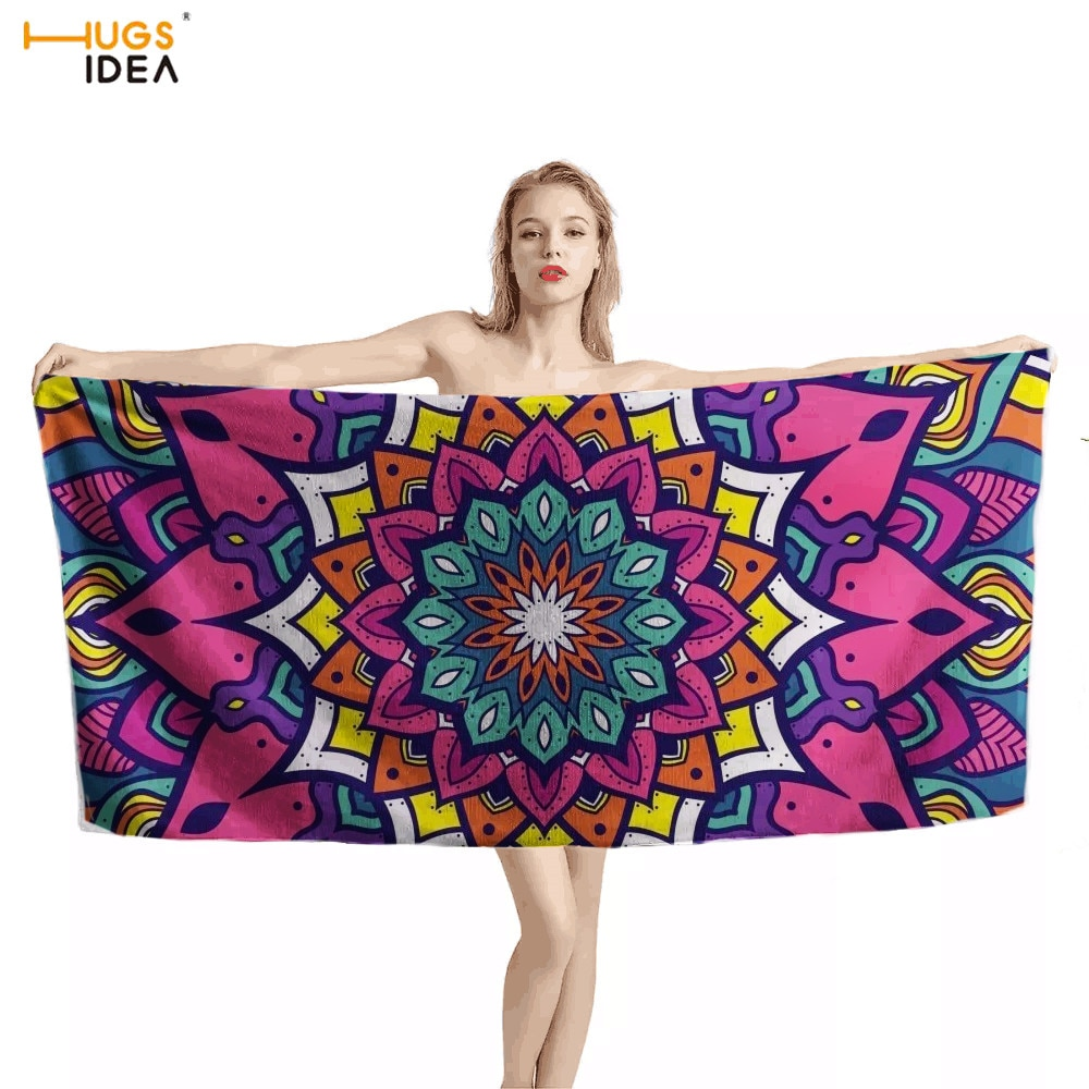HUGSIDEA hermoso estampado de flores Mandala Toallas de playa para mujeres de suave Yoga piscina manta de secado rápido toalla de baño toalla