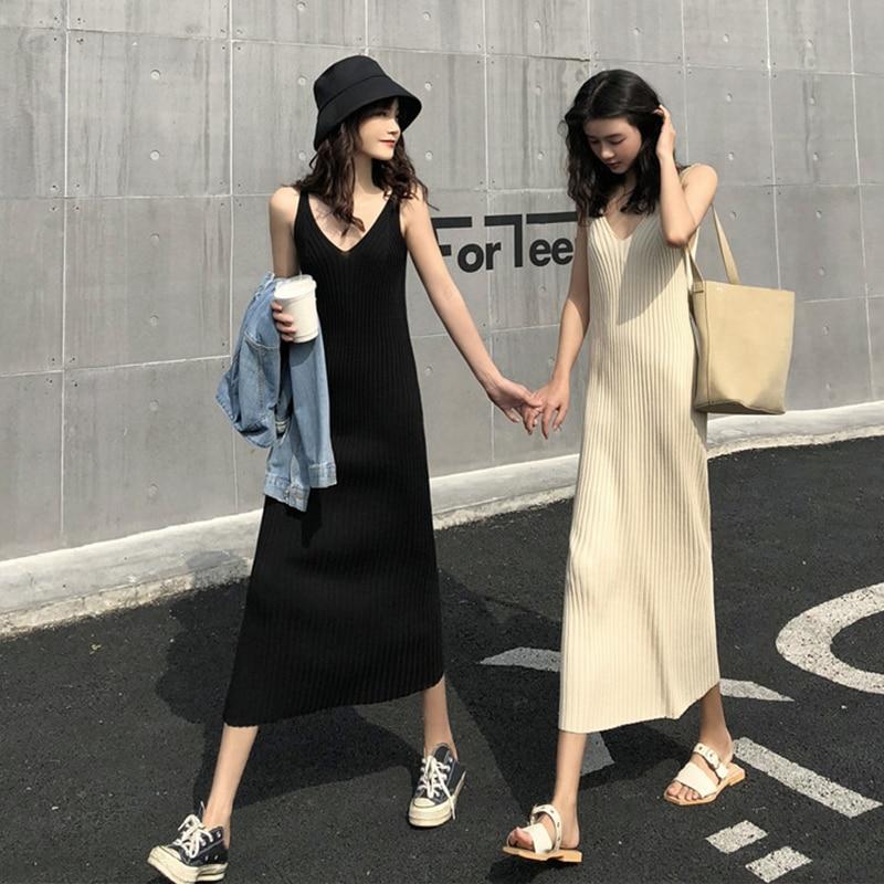 women knit strap long dress 4659#