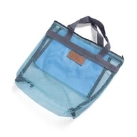 foldable mesh beach bag swimming cosmetic summer portable carrying clothing case storage outdoor sports handbag packaging bags