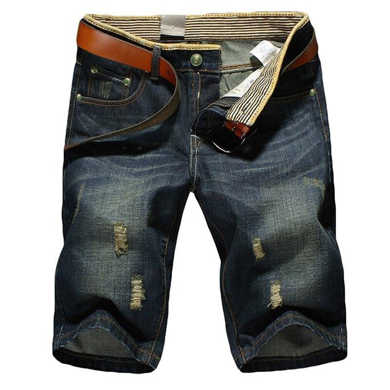 jeans men classic Men's Denim Shorts Good Quality Short Jeans Men Cotton Solid Straight Short Jeans Male Blue Casual Short