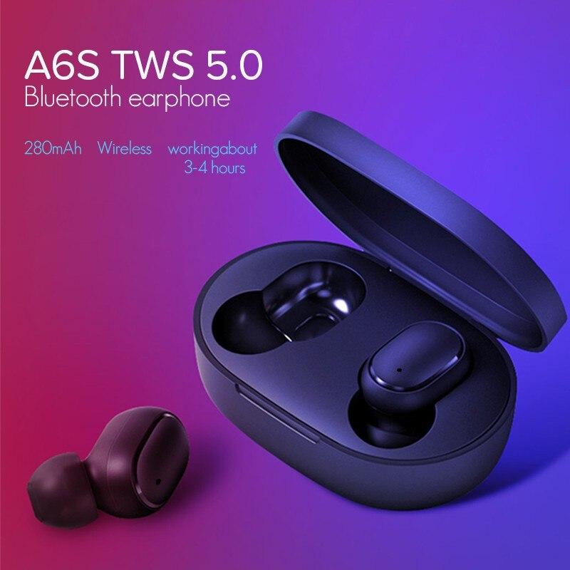 TWS A6s Auriculares Mini Bluetooth 5,0 Auriculares para Redmi Airdots inalámbrica Auriculares con Auriculares para Samsung Mi aire Dods