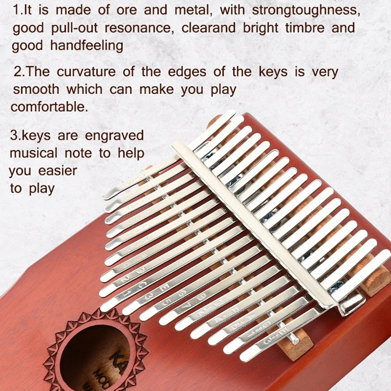 Kalimba 17 Keys Thumb Piano with Flannelette Bag Tutorial Book Tuning Hammers for Kids Adult Beginners Professional enlarge