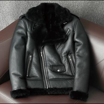 2021 New Men's Winter Oblique zipper Fur conjoined Men's Leather Jacket Fur Lapel Motorcycle Fur Coat