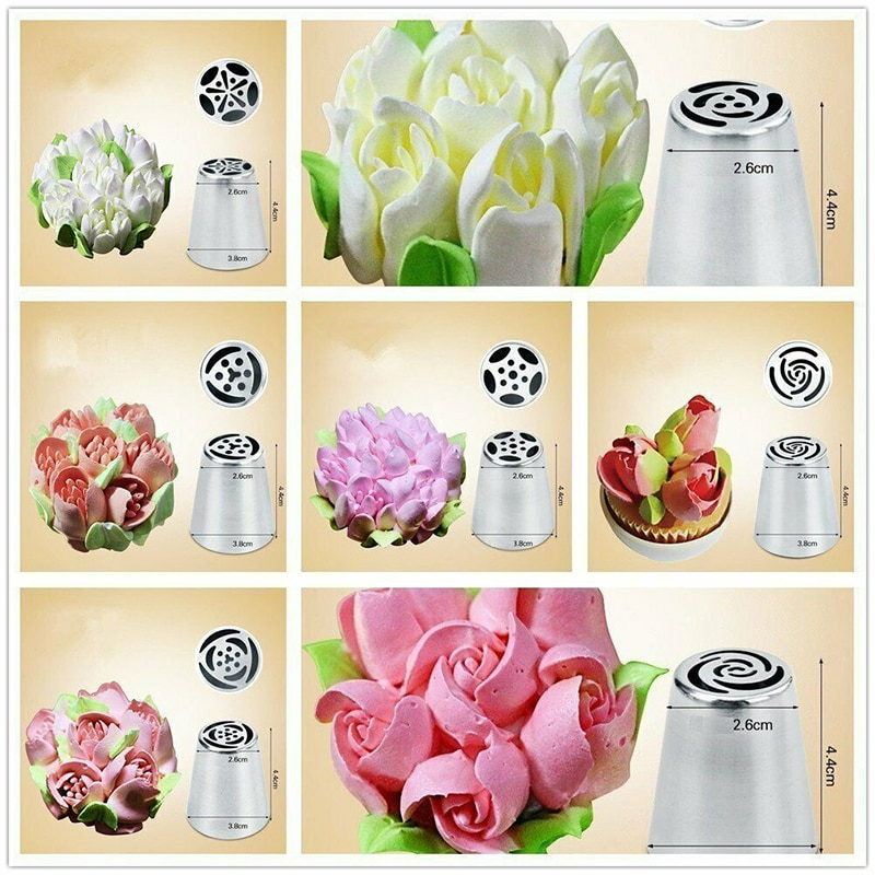 7Pcs Stainless Steel Flower Russian Icing Piping Nozzles Pastry Tips Cake Decorating Baking Tool Nozzles+ Leaf