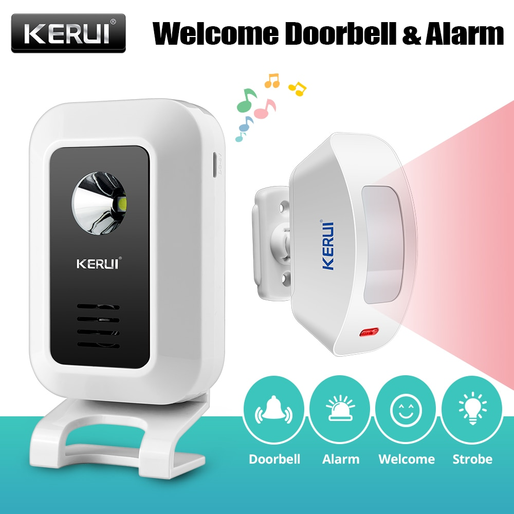 KERUI M7 Welcome Motion Sensor Security Alarm 32 Songs DoorBell Chime Wireless Smart Home LED Night Light Door Window Store Shop