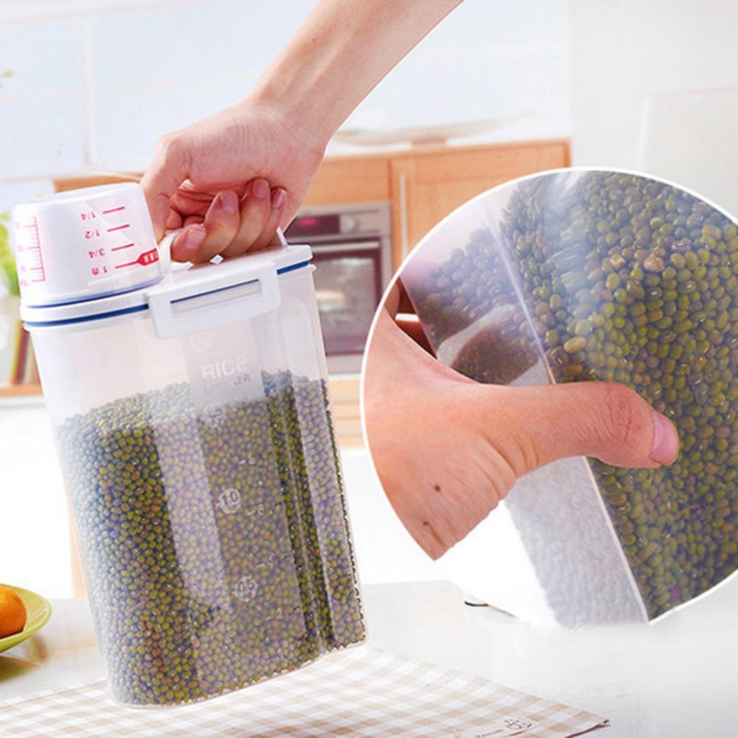 Jarra sellada de plástico para cocina tanques de arroz transparente Cubo de almacenamiento de alimentos cajas de granos
