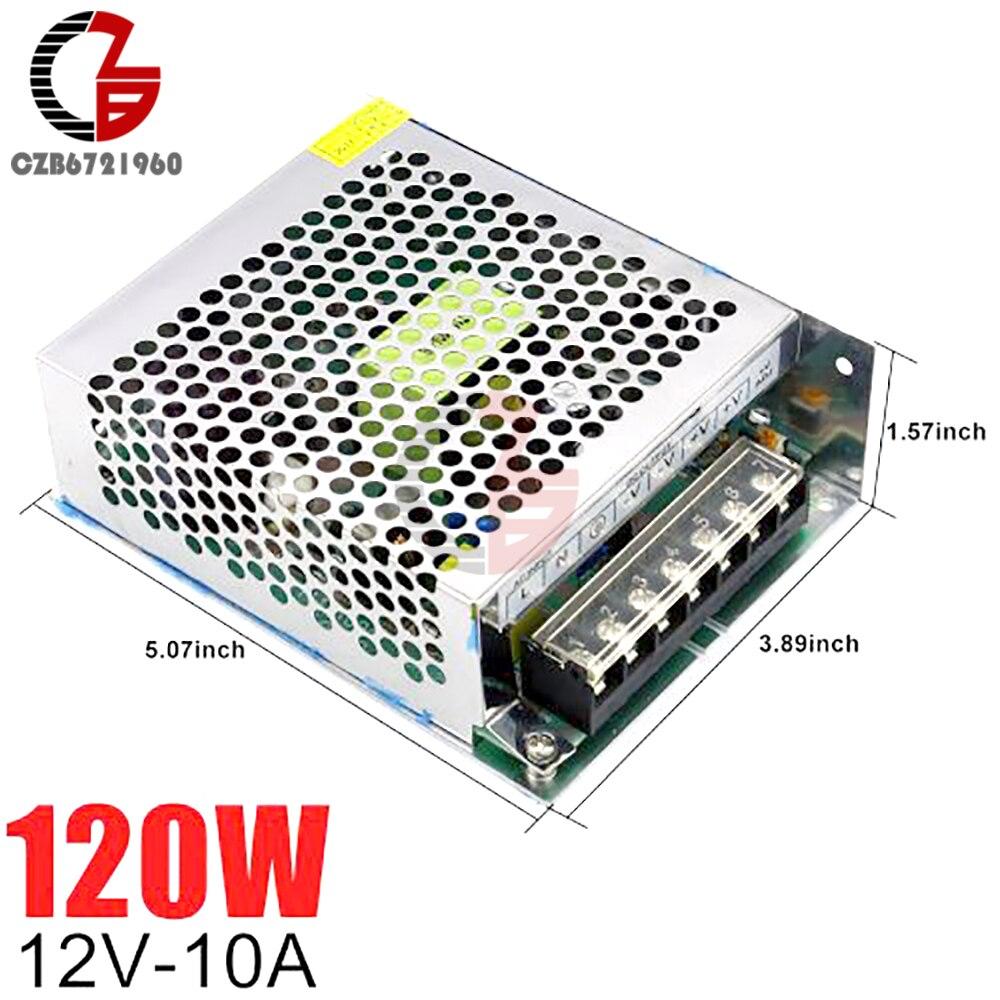 Fuente de alimentación de conmutación de 12V 10A 120W AC a DC LED tira de fuente de alimentación adaptador transformador fuente de alimentación LED regulador de voltaje