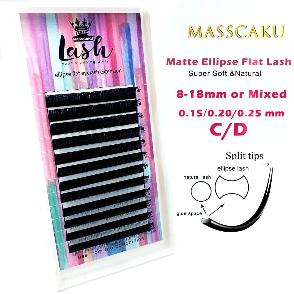 MASSCAKU ellipse flat lashes soft Split-tips fake eyelash extension individual eyelashes nature flat ellipse eyelashes supplies