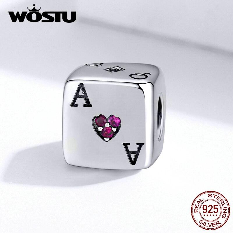 Abalorios cuadrados WOSTU, dados mágicos y cartas de póker, cuentas de plata de ley 925, joyería apta para Pulsera Original, colgante, joyería FIC1440