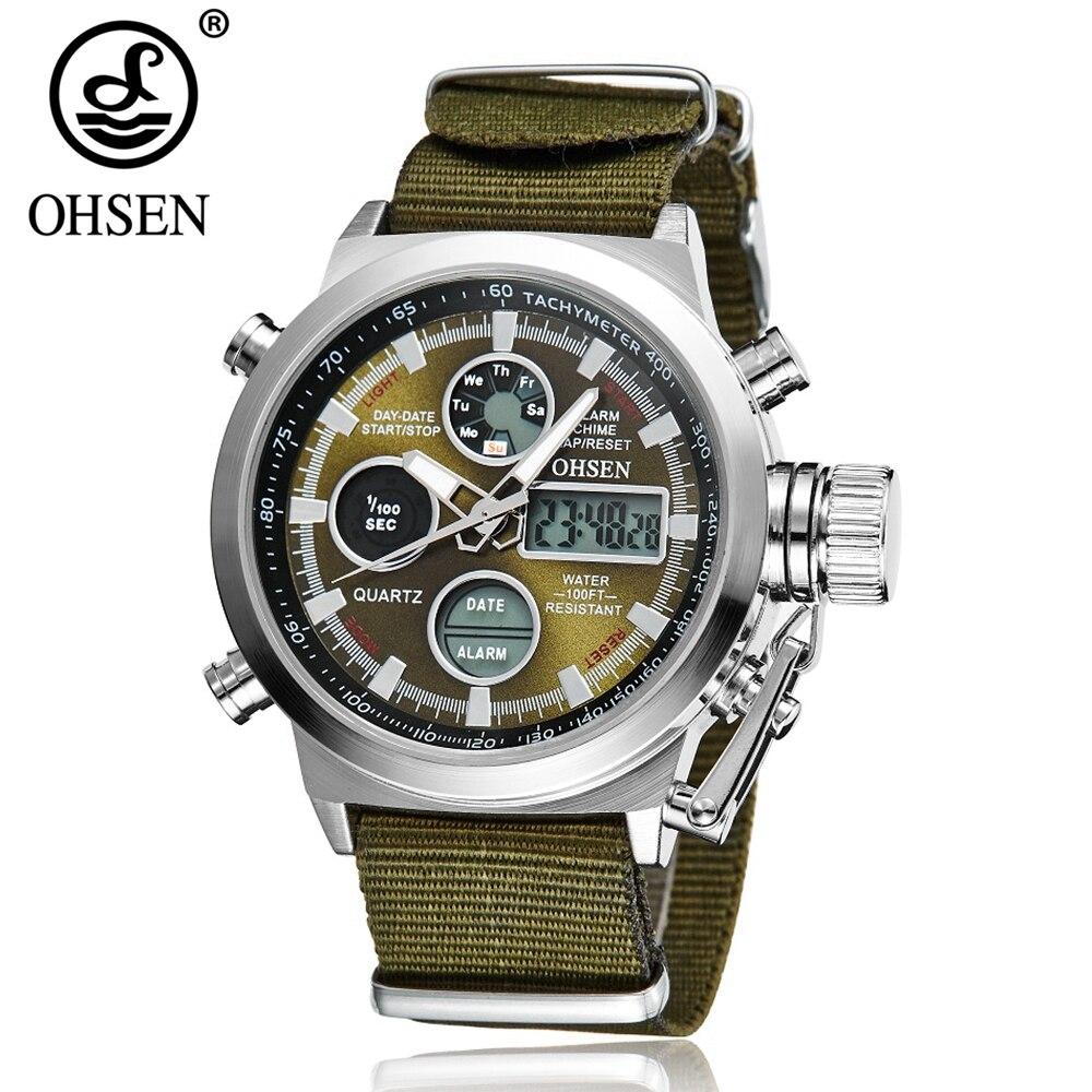 Reloj de pulsera deportivo para hombre, marca de moda, OHSEN, LCD, reloj Digital de cuarzo, reloj Masculino, banda de lona, 30 M, natación, verde, Militar
