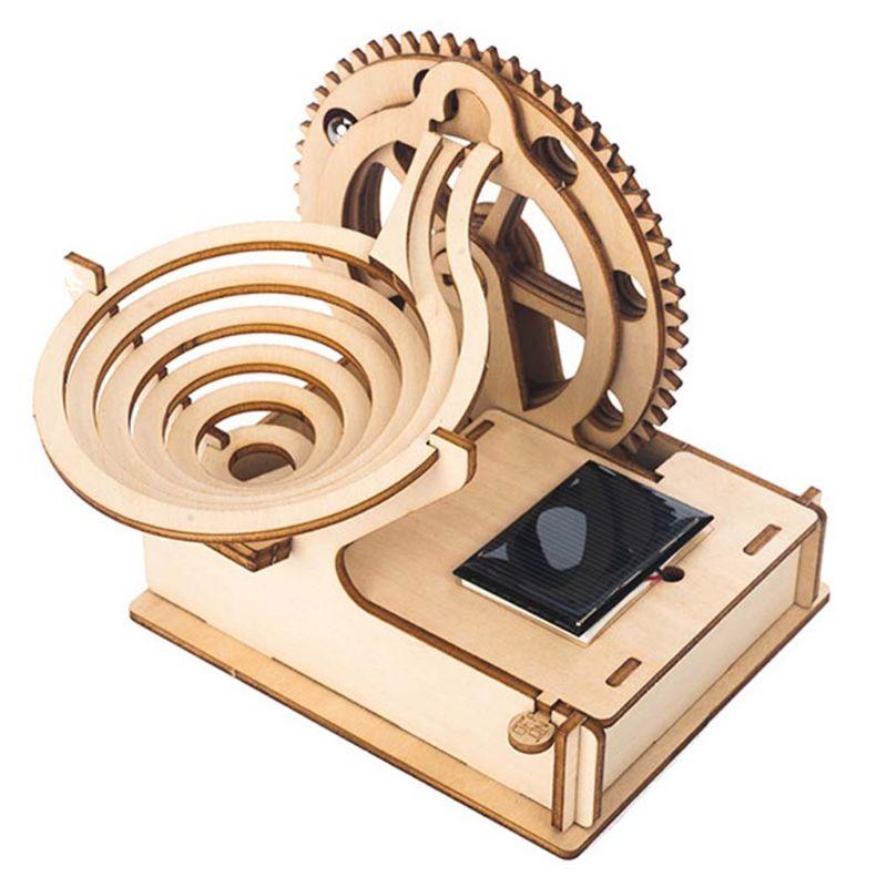 Wooden Solar Track Ball DIY 3D Wooden Race Run Maze Puzzle Building Kits Toys