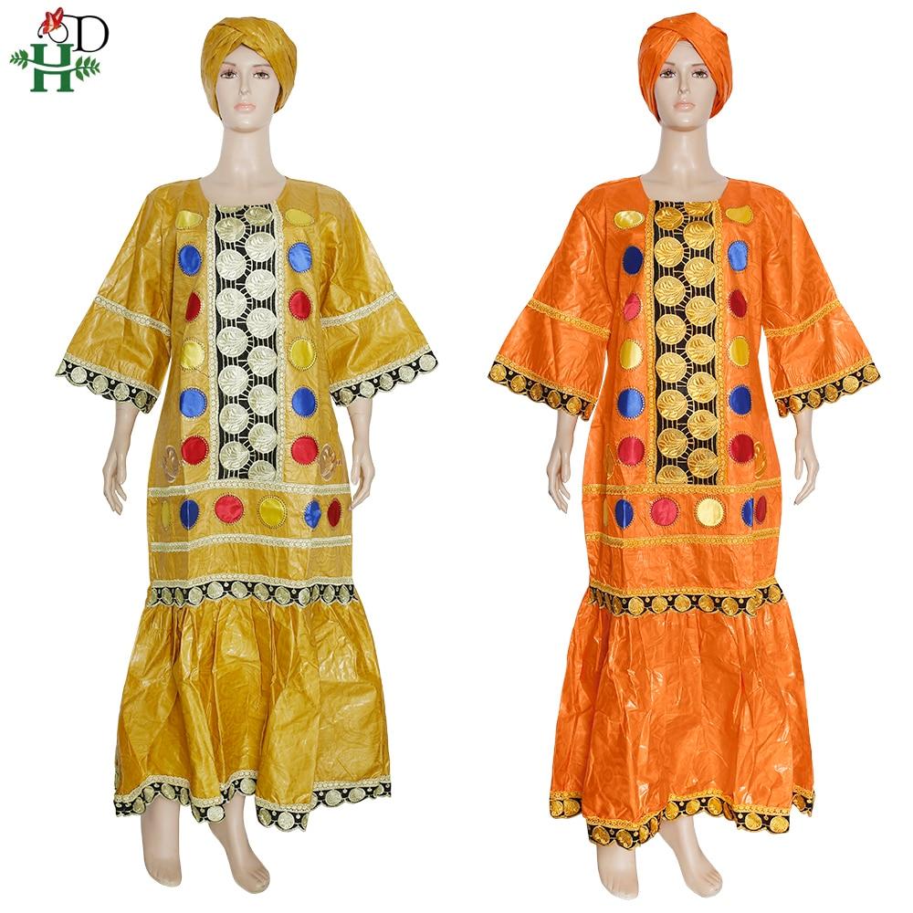 H & D-فستان طويل غني بازان للنساء الأفريقيات ، ملابس مصممة ، مقاس كبير Dashiki أنقرة ، عمامة ، مجموعة جديدة 2021