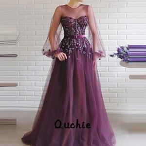 Purple Illusion Lantern Sleeves Evening Dresses Lace Bead Special Occasion robe soiree Islamic Dubai Kaftan Saudi Arabic Prom