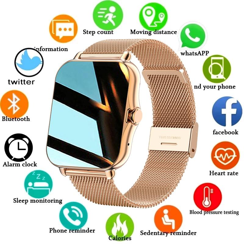 LIGE 2021 جديد شاشة ملونة ساعة ذكية السيدات الرجال كامل اللمس جهاز تعقب للياقة البدنية ضغط الدم ساعة ذكية السيدات ساعة ذكية + صندوق