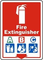 notice sign tin sign 12x16 fire extinguisher a b c sign