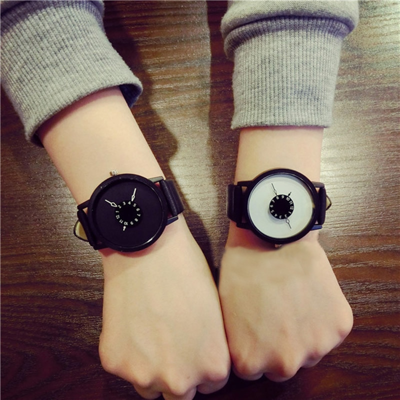 Simple Fashion Korean Lovers Couple Quartz Watch Leather Clock Men And Women Wristwatches Personalit